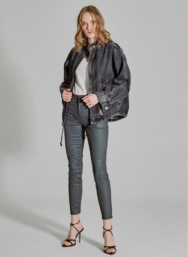 People By Fabrika Sırtı Pul Payet Detaylı Jean Ceket Antrasit